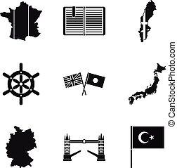 Mainland icons set, simple style - Mainland icons set....