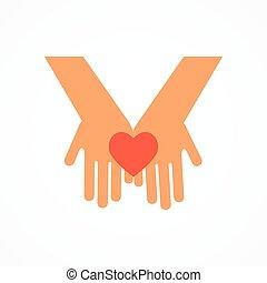 mains, à, coeur rouge