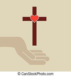 mains, à, croix, et, coeur sacré, icône