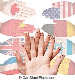 mains, à, différent, pays, drapeaux