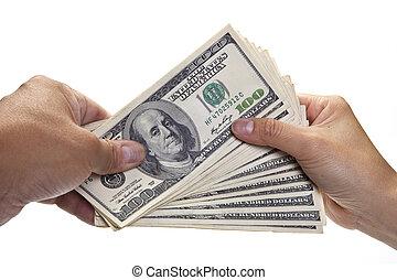 mains, échanger, argent