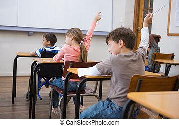 mains, élévation, leur, élèves