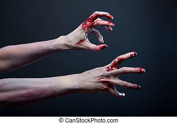 mains, étirage, sanglant, sien, zombi