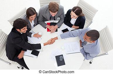 mains, affaires gens, réussi, international, secousse