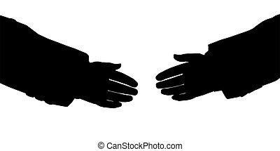 mains affaires, silhouette