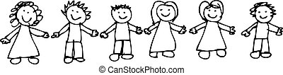 mains, amis, dessin, tenue, enfant