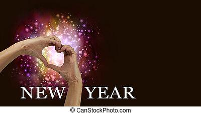 mains, année, coeur, nouveau