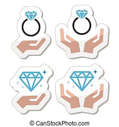 mains, anneau, engagement, diamant