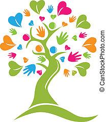 mains, arbre, vecteur, figures, cœurs, logo, icône
