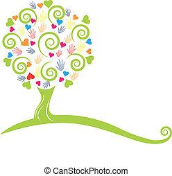mains, arbre, vert, cœurs, logo