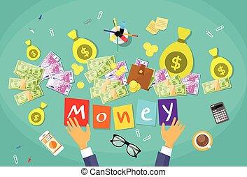 mains, argent, homme affaires, bureau, concept