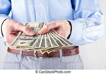 mains, argent, homme affaires