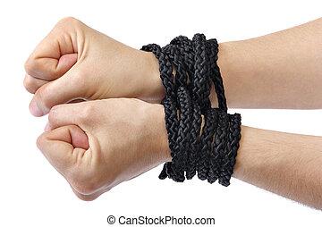 mains attachées