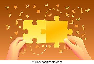 mains, beaucoup, vecteur, icons., puzzle, coloré, prise, fond
