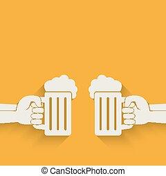 mains, bière, grandes tasses