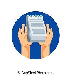 mains, bloc-notes, isolé, icône, fourniture