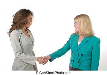 mains, business, 1, femmes, deux, secousse