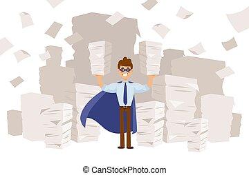 mains, business, caractère, papier, tient, superhero, masque...