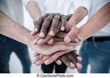 mains, business, ensemble, équipe, joindre