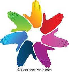 mains, business, logo, vecteur