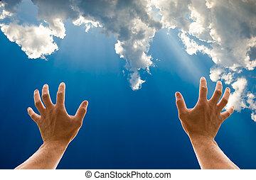 mains, ciel, deux, atteindre