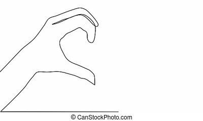 mains, coeur, animation., représenter, dessin, soi