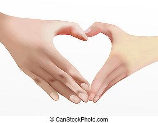 mains, coeur, faire l'amour, deux