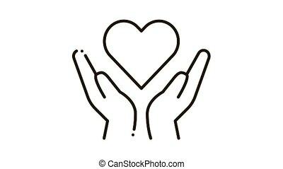 mains, coeur, icône, animation, prise