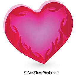 mains, coeur, logo, humanité, rose