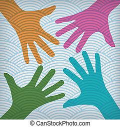 mains, coloré, heureux, fond, équipe, agité, symbole.