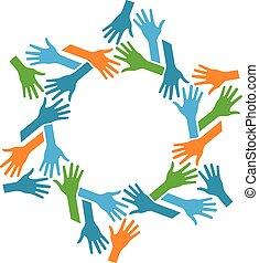 mains, communauté, circle., collaboration, concept