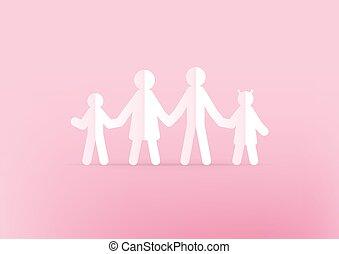 mains, concept., tenue, rose, arrière-plan., heureux, papier, famille