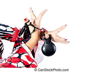 mains, détail, de, danseur flamenco, dans, beau, robe