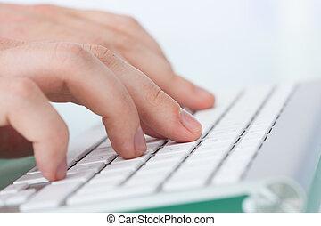 mains, dactylographie, clavier ordinateur