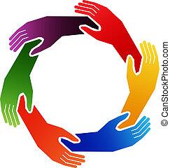 mains, dans, cercle