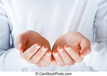 mains, dans, les, acte, de, présentation, quelque chose