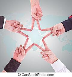 mains, dans, les, formulaire, de, a, étoile