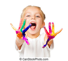 mains, dans, les, peinture