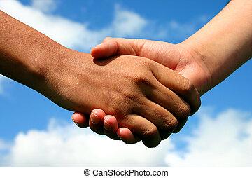 mains, de, amitié