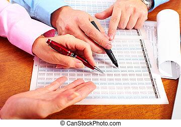 mains, de, comptable, business, woman.