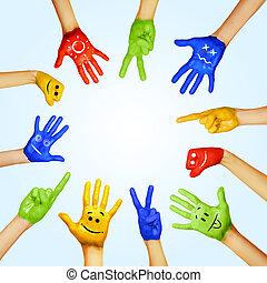 mains, de, différent, colors., culturel, et, diversité...