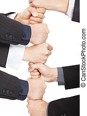 mains, de, homme affaires, à, collaboration, concept