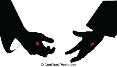 mains, de, jésus