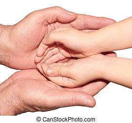 mains, de, les, enfant