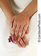 mains, de, les, mariée