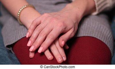 mains, de, mère fille