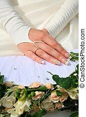 mains, de, mariée