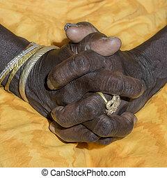 mains, de, une, vieille dame