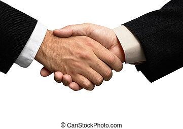 mains, deux, hommes affaires, secousse