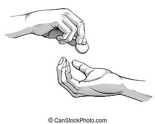 mains, donner, &, réception, argent